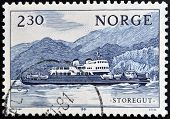 NORWAY - CIRCA 1981: A stamp printed in Norway shows ship Storegut circa 1981