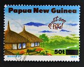 PAPUA NEW GUINEA - CIRCA 1995: A stamp printed in Papua dedicated to tourism shows resorts