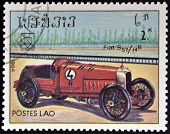 LAOS - CIRCA 1984: A stamp printed in Laos dedicated to Classic sport and race cars shows Fiat S 57