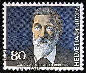 SWITZERLAND - CIRCA 1980: A stamp printed in Switzerland shows Gustav Adolf Hasler circa 1980