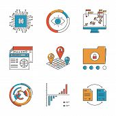 stock photo of uniqueness  - Abstract icons of big data analytics report business statistics and datum graphic information for analyzing and forecasting - JPG