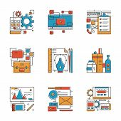 Design Agency Services Line Icons Set