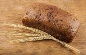 Brown Bread With Ears Of Wheat