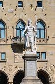 Statue Of Liberty Near The Palazzo Pubblicco In San Marino. The Republic Of San Marino