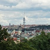 Zizkov Television Tower In Prague City