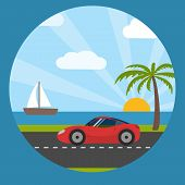 Sports car on the seaside