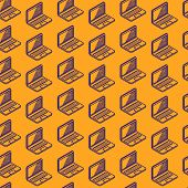 abstract seamless pattern with isometric laptop signs