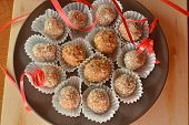 Homemade chocolate truffles with nuts Christmas dessert