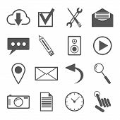 black and white icons set for web and mobile applications