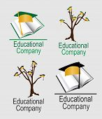 Logo-Four Education with Graduation Caps and Trees