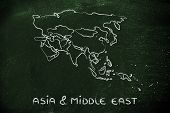 World Map And Continents: Borders And States Of Asia And Middle East