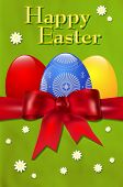 Happy Easter Card With Easter Eggs And Red Bow