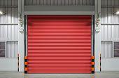foto of roller shutter door  - Shutter door or rolling door night scene - JPG