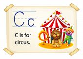Poster of an alphabet C for circus