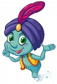 Illustration of a blue genie smiling