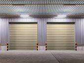 stock photo of roller door  - Shutter door or rolling door beige color night scene - JPG