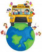 School children riding on Earth