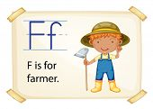 Illustration of letter F is for farmer