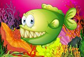 A green piranha under the sea