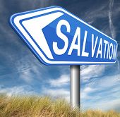 stock photo of jesus sign  - salvation follow jesus and god to be rescued save your soul sign with text and word  - JPG