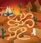 Illustration of a maze game with desert background
