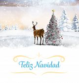 Christmas greeting card against christmas tree and reindeer