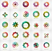 Set of abstract star flower shape logos. Modern business fashion or beauty concept