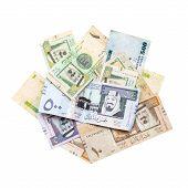 Pile Of Modern Saudi Arabia Money Isolated On White