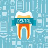 image of diagnostic medical tool  - Medical background design with dental equipment icons - JPG
