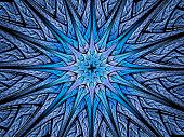 Star Shaped Blue Glowing Fractal In Space