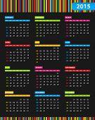 Dark Annual 2015 Calendar With Bright Stripes In Background
