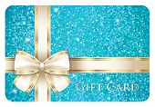Turquoise Shiny Gift Card Composed From Glitters