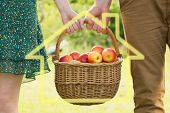 Basket of apples being carried by a young couple against house outline