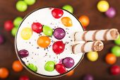 Delicious Dessert With Colorful Candies