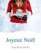 sexy santa girl holding gift against joyeux noel