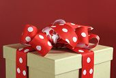Natural Modern Trend Gift Wrapping With Brown Kraft Gift Box And Red And White Polka Dot Ribbon