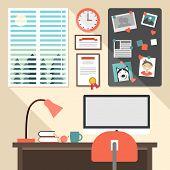 Flat Design Vector Illustration Concept Of Modern Home Or Business Work Space