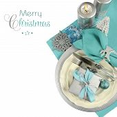 Modern Christmas Table Place Settings In Aqua Blue, Silver And White Theme, With Merry Christmas Sam