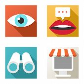 Flat Design Vector Icon Set. Online Shopping, Chat, Searching, View