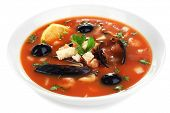Tasty mussel soup isolated on white