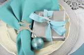 Modern Christmas Table Place Settings In Aqua Blue, Silver And White Theme. Closeup.