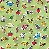 Seamless background with different food