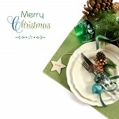 Traditional Christmas Holiday Green Theme Table Place Setting With Fine China On White Background Wi