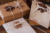 Brown Crochet Snowflakes For Christmas Decoration Of Gift Box And Greetings Card