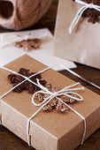Brown Crochet Snowflakes For Christmas Decoration Of Gift Box, Package And Greetings Card