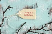 Merry Christmas Festive Baking Concept With Closeup On Happy Holidays Gift Tag On Vintage Style