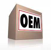 OEM word, letters or acronym on a label on cardboard box containing original equipment manufacturer products or parts for repair or replacement