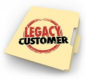 Legacy Customer words stamped on a manila file folder for a client or buyer who is faithful, reliable, loyal and long-time supporter of your business or company
