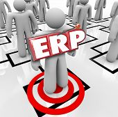 ERP acronym letters on a worker on an org chart to illustrate Enterprise Resource Planning for a company, organization or business