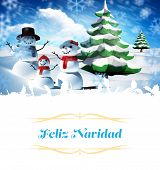 Christmas greeting card against snow man family